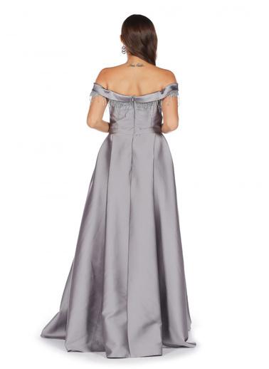 Pierre Cardin Düşük Kollu Prenses Abiye Elbise Gri